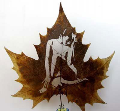 Картины вырезанные на листьях - 8